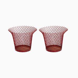 Accessori da scrivania in metallo rosso di Mathieu Matégot per Ateliers Mategot, anni '50, set di 2