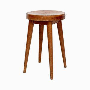 Vintage Pine Stool by Pierre Jeanneret & Charlotte Perriand, 1950s