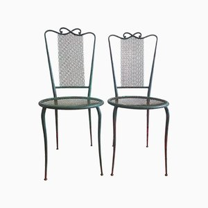 Vintage Painted Steel Garden Chairs, 1950s, Set of 2