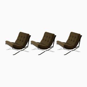 Italienische Mid-Century Sessel aus verchromtem Metall von MIM, 1960er, 3er Set