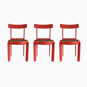 Orange Lacquered & Cane Chairs, 1970s, Set of 3