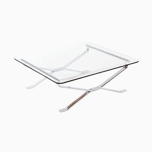 Mid-Century Italian Chromed Metal & Glass Coffee Table from MIM, 1960s