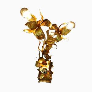 Lampada da terra vintage dorata e floreale, Italia, anni '70