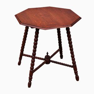 Vintage Beistelltisch aus Eiche mit achteckiger Tischplatte, 1950er
