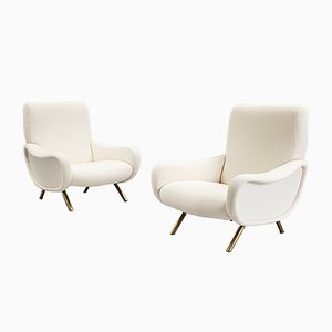 Mid-Century Lady Armchairs in Bouclette by Marco Zanuso, Set of 2