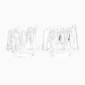 Bougeoirs Polar Vintage en Cristal par Göran Warff pour Kosta Boda, Set de 2