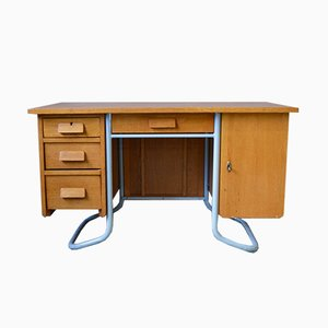 Mid-Century Oak Desk With Tubular Frame