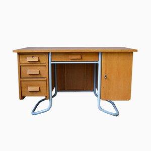 Mid-Century Schreibtisch aus Eiche mit Gestell aus Stahlrohr