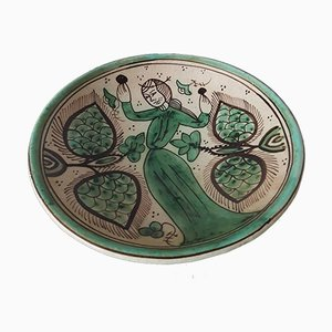 Vintage Green & Brown Ceramic Plate