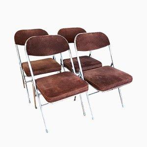Klappbare Vintage Esszimmerstühle mit braunen Cordbezügen, 4er Set