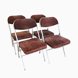 Vintage Folding Brown Cord Dining Chairs, Set of 4