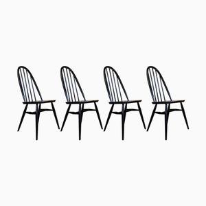Mid-Century Esszimmerstühle aus schwarzem Ulmenholz, 4er Set