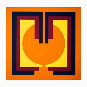 Optical Art Color Lithograph by Shalom Lixenberg, 1972