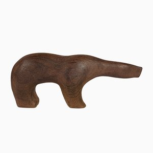 Skulptur eines Eisbären aus Teak von Arne Tjomsland, 1950er
