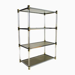 Vintage Brass and Lucite Shelving Unit, 1975