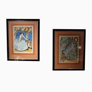 Art Deco Pochoir Drucke von S. Chompré, 2er Set