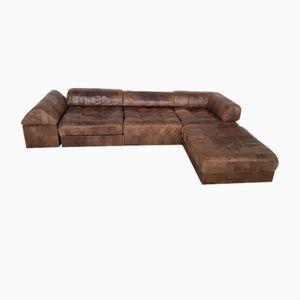 Unterteiltes DS88 Sofa aus braunem Anilinleder von de Sede, 1970er