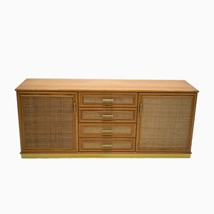 Vintage Bamboo, Brass & Rattan Sideboard, 1970s