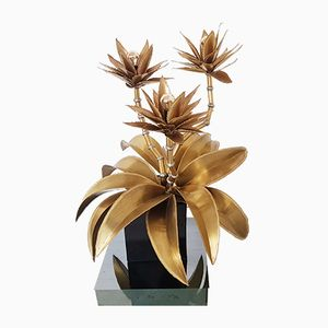 Brass Floral Table Lamp from Maison Jansen, 1970s