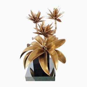 Florale Tischlampe aus Messing von Maison Jansen, 1970er