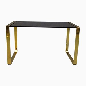 Vintage Brass & Smoked Glass Side Table, 1970s