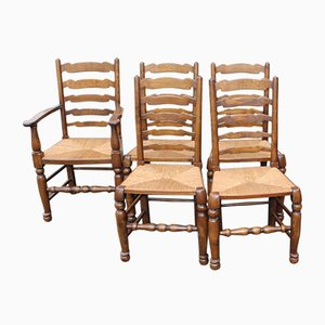 Oak Ladderback Chairs, 1940s, Set of 5