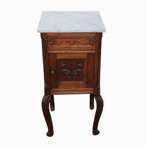 Oak Bedside Table with Marble Top, 1920s