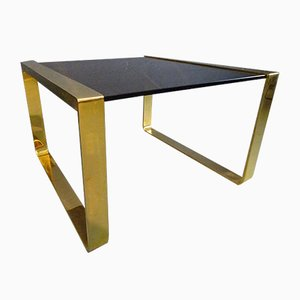 Vintage Brass & Smoked Glass Coffee Table, 1970s