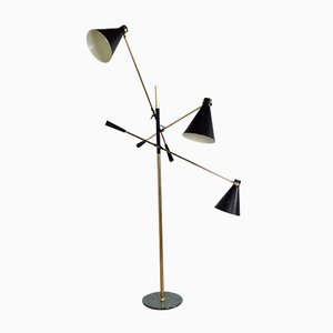 Lámpara de pie regulable de tres brazos de Stilnovo, años 50