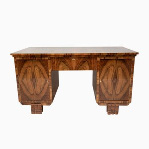 Art Deco Bohemian Walnut Writing Desk, 1930s