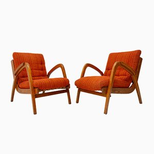 Beechwood Easy Chairs by Jan Vaněk for UP Závody, 1940s, Set of 2