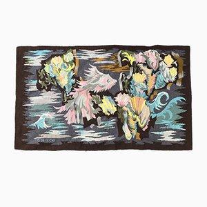 Französische Vintage Art Deco Aubusson Tapisserie von Georges Deveche
