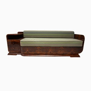 Art Deco Sofa aus Nussholz, 1930er