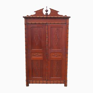 Vintage Faux Bamboo Armoire