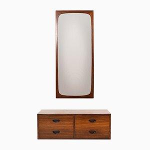 Cassettiera a muro con specchio, Danimarca, anni '60
