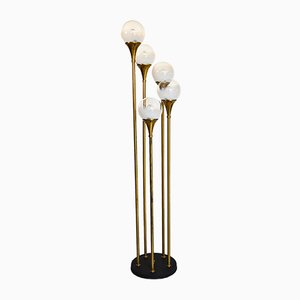Mid-Century Brass & Murano Glass Floor Lamp from Reggiani, 1970s