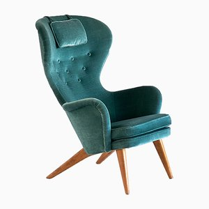 Siesta Wingback Armchair in Teal Velvet by Carl-Gustav Hiort Af Ornäs for Hiort Tuote Puunveisto, 1952