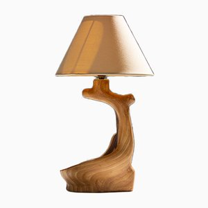 Vintage Faux Wood and Ceramic Table Light from Grandjean Jourdan