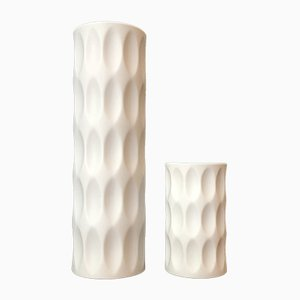 Mid-Century German Op Art Bisque Porcelain Vases by Heinrich Fuchs for Hutschenreuther, 1960s, Set of 2