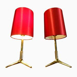 Lámparas de mesa trípodes, años 50. Juego de 2