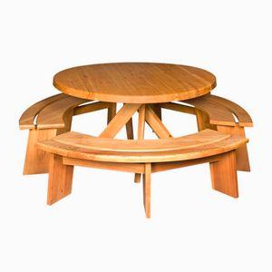 Table de Salle à Manger et 3 Bancs par Pierre Chapo, 1970s