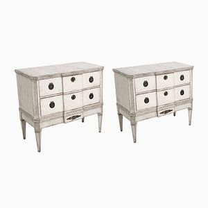 19th-Century Gustavian Faux Marble Top Break-Front Chests, Set of 2