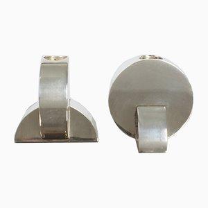 Portacandele Art Déco in rame e placcati in argento di Ercuis, set di 2