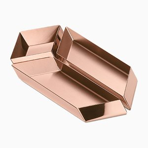 Axonometry Small Parallelepiped Containers in Copper by E. Giovannoni for Ghidini 1961, Set of 3
