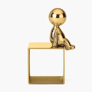 Omini Napkin Holder in Brass by S. Giovannoni for Ghidini 1961