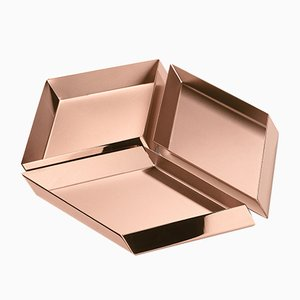 Axonometry Large Cube Containers in Copper by E. Giovannoni for Ghidini 1961, Set of 3