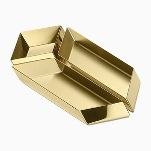 Axonometry Small Parallelepiped Containers in Brass by Elisa Giovannoni for Ghidini 1961, Set of 3