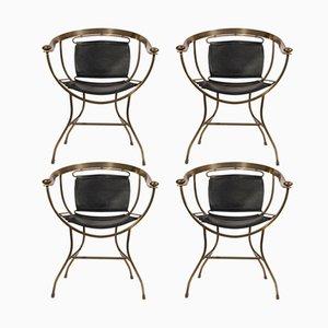Italienische Stühle aus Leder & Bronze von Alberto Orlandi, 1970er, 4er Set