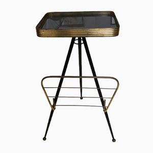 Mid-Century Brass & Glass Side Table, 1950s