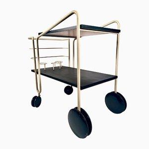 Vintage German Bar Cart in Wood and Tubular Iron